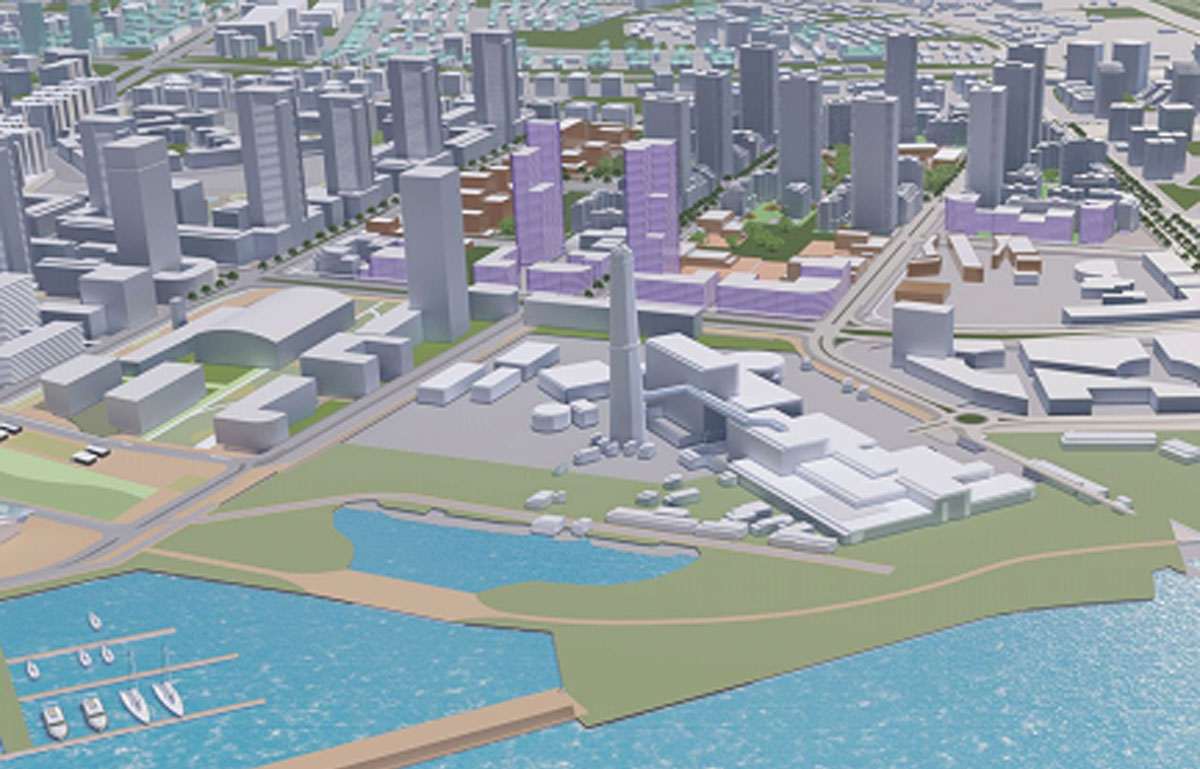 """הדמיית הפרוייקט של רשות מקרקעי ישראל בשדה דב. קרדיט: משרד האדריכלים """"תכנון נוף בע""""מ""""."""